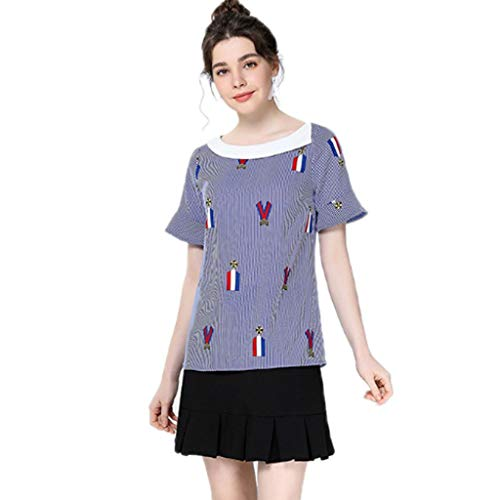 Streifen-rüschen-bluse (QJKai Frauen Plus Größe Kurzarm T-Shirt Mode Druck Streifen Tops Rüschen Ärmel Bluse Lose Wilde Sommer Damen Hemd Für Reise einkaufen (größe : XL))