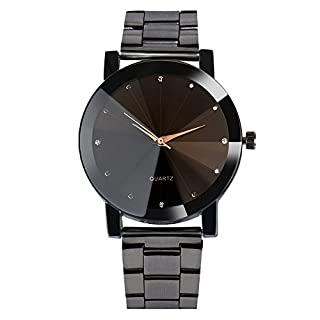 DOLDOA Unisex Fashion Simple Crystal Stainless Steel Analog Quartz Wrist Watches for Man Women,Sale Clearance (Black)