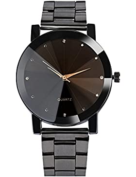 Watch Loveso Damen Frauen Kristall Edelstahl Analoge Quarz Armbanduhr Armband (Schwarz)