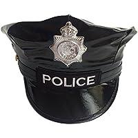 Tinksky Distintivo ottagonale in pelle cappello da poliziotto nero capitano  Flat Top Performance sul palco militare b9074e70d88d