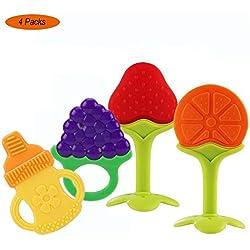 Mordedor Bebes, Yisscen BPA gratis Juguetes para la dentición para bebés/mordedor de frutas para bebés - Natural Organic Freezer Safe Silicone Teethers 1 pack (4 UNIDADES)