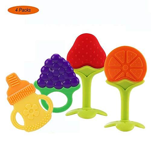 Baby Beißring, Yisscen BPA-frei Fruchtbeißring für Säuglinge - Natürliche organische Baby-Zahnen Obstbaum Silikon-Beißringe (4 Stück)