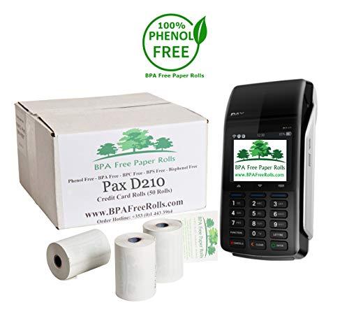 Pax D210 - Rollos tarjetas crédito sin BPA 50 rollos