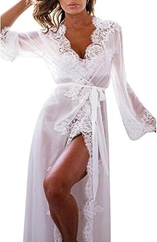Frau Puppe Unterwäsche Mit G-String Nachtwäsche Spitze Mantel Unterwäsche (Weiß, L) (Kurze 3er-pack Panty)