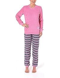 Frottee Damen Schlafanzug mit Bündchen und Sternenmotiv - Hose geringelt - Rundhals 58485