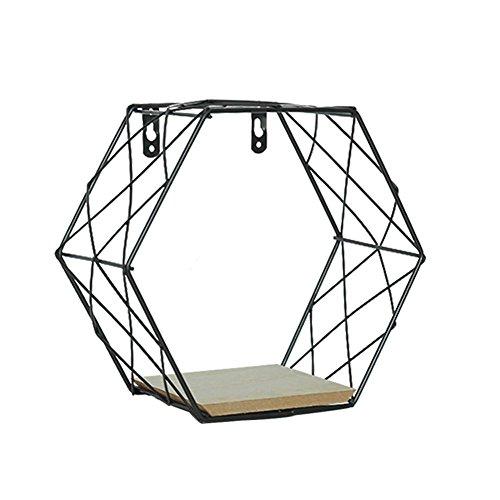 Rikey scaffale a muro in griglia esagonale in ferro, mensola a parete a parete geometrica a parete, decorazione per soggiorno