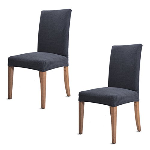 2PCS Dining Chair Cover Stretch Jacquard Polyester Spandex Fabric Dining Chair Covers Removable Washable Chair Slipcovers (Pack of 2, Grey)