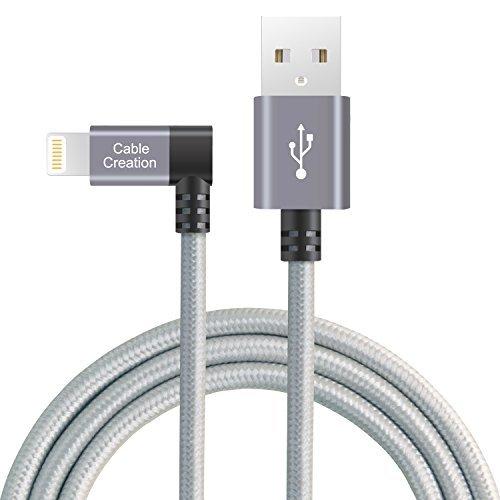 CableCreation Winkel Lightning Datenkabel ,abgewinkeltes Lightning stecker, USB Daten -Ladekabel, [MFi-zertifiziert] Kompatibel mit iPhone X, 8, 8 Plus, 7, 7 Plus, 6S, 6S Plus, iPad, Space Grau, 1,2 M/4 Ft