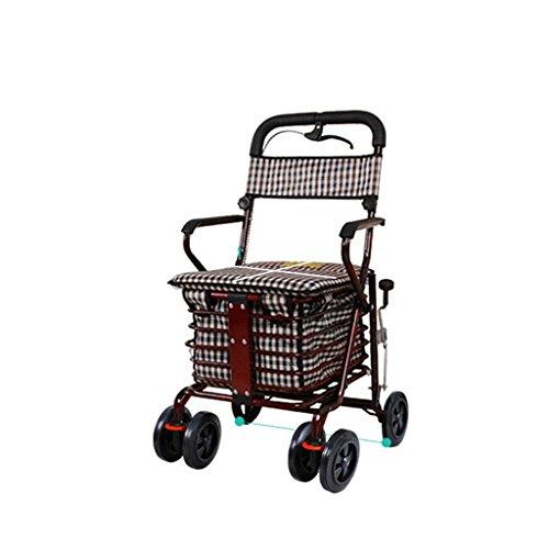 Der ältere Hand-LKW-Einkaufswagen-kreative Handbremse wenig ziehen die Auto-Laufkatze kann schieben, um faltbaren Walker vier Einkaufsroller älteren Rest-Autos zu sitzen ( Farbe : Weinrot ) - Walker Rest Sitz
