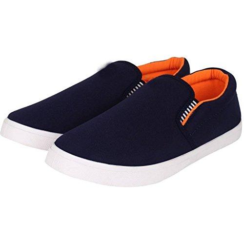 Leewon Men\'s Blue/Orange Canvas Loafers & Moccasins-10