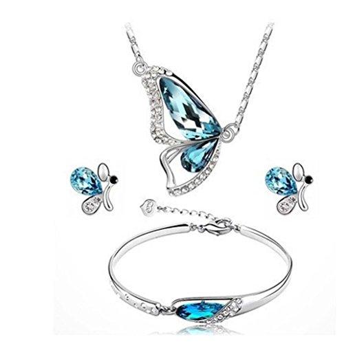 Sunnywill Mode Schmetterling Schmuck Sets Halskette + Ohrringe + Armband Crystal Set für Frauen Mädchen Damen