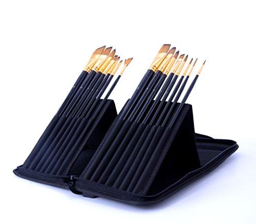 Exerz JH025 Set di pennelli per pittori - 15 pennelli professionali in una custodia protettiva da viaggio apribile/perfetto per acrilico, colori ad olio, tempera, acquerelli & pittura del viso