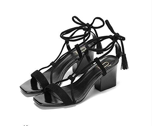 XY&GKSind Coarse graining Toe Sandalen die Kreuzbänder, komfortabel und schön 37 black