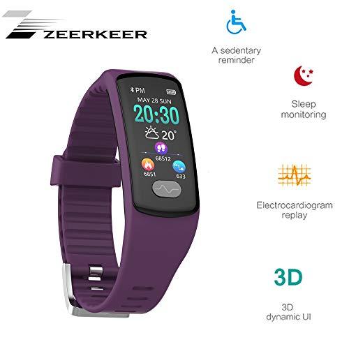 Armband Uhr,Zeerkeer Fitness trackers 0,96 Elektrokardiogramm PPG, Schrittzähler, Kalorienverbrauch SMS, Facebook Twitter Damen Heern (Violett)