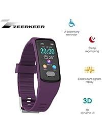 Reloj Pulsera Zeerkeer, rastreadores de Ejercicios 0.96 Electrocardiograma PPG, podómetro, calorías SMS, Facebook Twitter Brazos de…