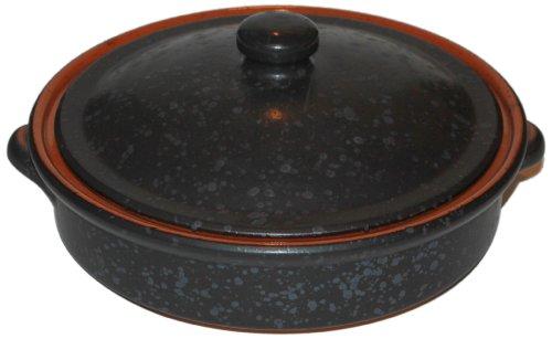Amazing Cookware Cocotte ronde en terre cuite avec couvercle Gris 25cm