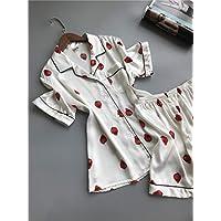 YTNGA Pijamas De Mujer Ropa de Dormir MujeresImprimir Sleep Lounge Pijamas de satén Pijamas de Mujer Sets Botón de Verano, Blanco, XL
