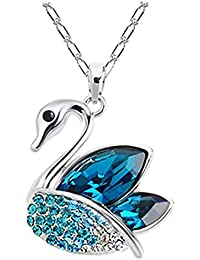Eterno Classic Platinum & Blue Swarovski Crystal Swan Pendant With Chain For Women