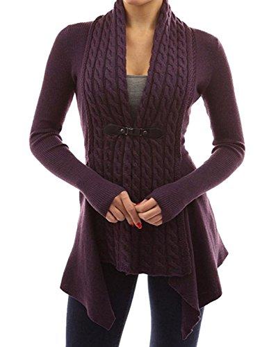 Buauty Women Casual Long Sleeve V Neck Knit Sweater Cardigans Jackets Coat Plus Size