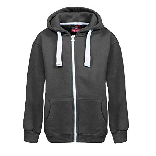 New in Unisex Kids Girls Boys Plain Fleece Zip-up Hoodie Hoody Sweatshirt top Ages 1-13 available in Black, Charcoal, Purple, Navy, Hot Pink, Royal Blue and Wine