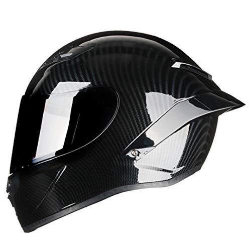 SHelterziyi Motorradhelm aus Carbonfaser mit Vollgesichtsmaske, der den Motocross Off Road Helm fährt Black visor2 L (Softball-rucksäcke)