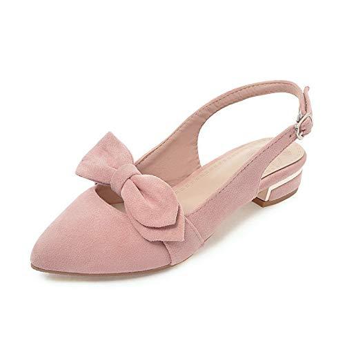 TXHLKD Summer Bow Slingbacks Pumps Damen Big Size 34-43 Sweet Shallow Schuhe Damen Low Heel Date Damen Schuhe 6 Blau Bow Slingback