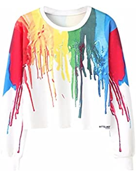 HARRYSTORE Nuevas mujeres de manga larga Tops Multicolor pintadas impresas Hoodies Casual camisas cortas