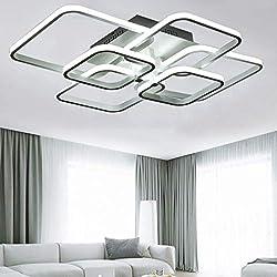Lámpara de sala de luz de techo LED sala de luz blanca fría Lámpara de techo de la plaza blanca Lámpara de sala de 6 lámparas de llama Habitación para niños Comedor Cocina Pasillo 70 * 58 * 18cm 60W