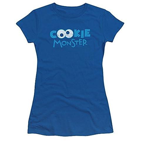 Sesame Street Cookie Eyes Juniors Short Sleeve Shirt SM Royal Blue