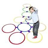 Ouken Rayuela Juego del Anillo de los Anillos Multicolores y Conectores para Clips de aro Jugar al Aire Libre Actividad Twister Círculo de plástico