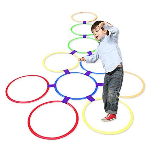 Ring Hopscotch Ring Spiel Spielzeug 10 Multi-Colored Plastic Ringe und 9 Anschlüsse für den Innen- oder Außenbereich-Fun Creative Play Set für Mädchen und Jungen(38cm) ()