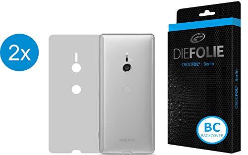 Crocfol Rückseitenschutz für Sony Xperia XZ3: 2X DIEFOLIE Schutzfolie, 1x DASFLÜSSIGGLAS flüssiges Glas - Backcover Folie zum Schutz der Rückseite