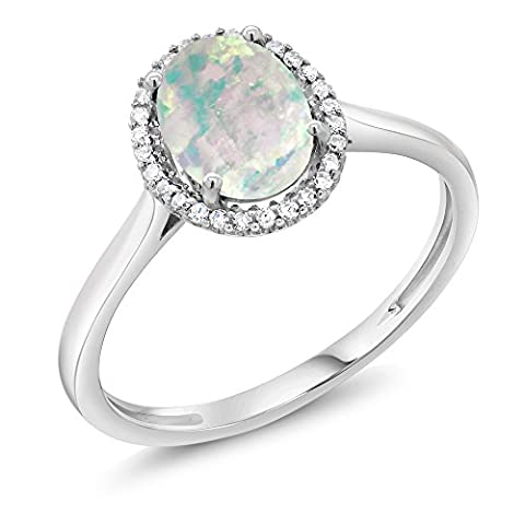10K White Gold Diamond Ring 1.05 Ct Oval Cabochon White Simulated Opal