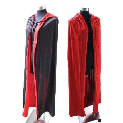 Gangster-hexe (Kapuzenumhang, Wendeumhang, Umhang mit Kapuze, Cape mit Kapuze, Kostüm Party- rot, schwarz)