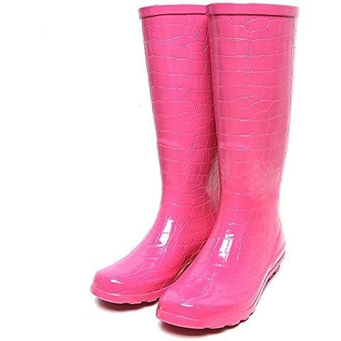 Pink coccodrillo modello alta moda ladies pioggia stivali gomma neve stivali stagioni acqua scarpe da (Coccodrillo Dell'arco)