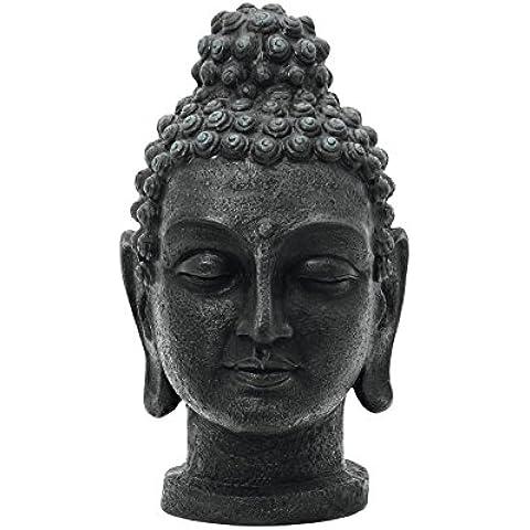 Testa di Buddha, colore: nero antichizzato, 75cm