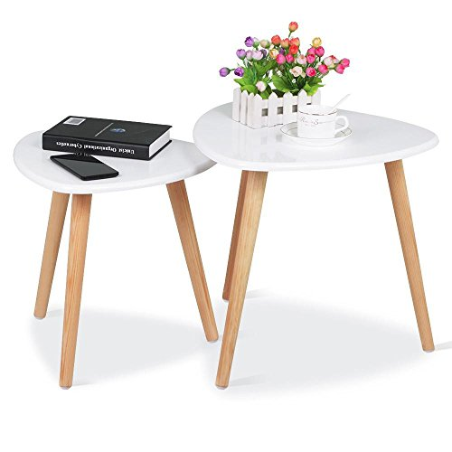 Yahee 2er Set Beistelltisch runder Couchtisch Wohnzimmertisch rund holz Ø 48cm & 40cm weiß