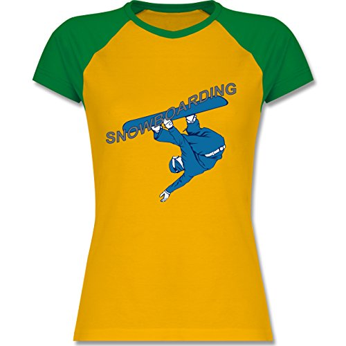 Wintersport - Snowboarding - zweifarbiges Baseballshirt / Raglan T-Shirt für Damen Gelb/Grün