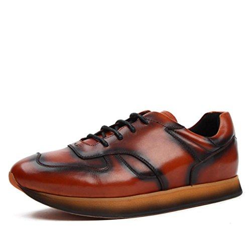 Heart&M moda casual in vera pelle maschile turno scarpe in pelle taglio basso Brown