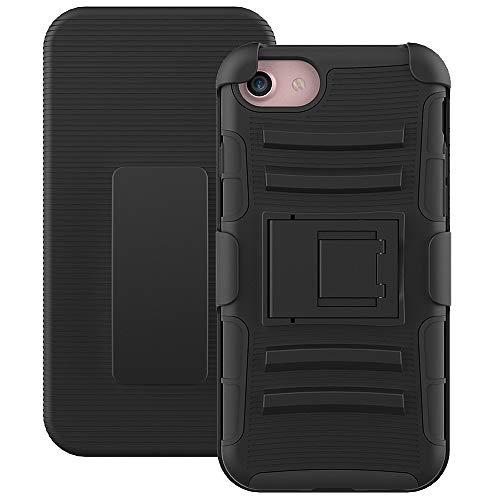 Roar Outdoor Handy Hülle für iPhone 5 / 5S, Handyhülle Schwarz, Schutzhülle Hard Case Panzerhülle, Military Grade, 3-teilig mit Gürtelclip und Displayabdeckung