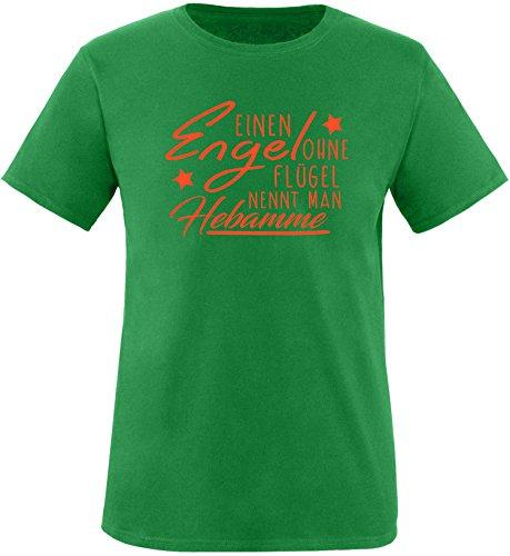 EZYshirt® Ein Engel ohne Flügel nennt man Hebamme Herren Rundhals T-Shirt Grün/Orange