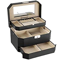 SONGMICS Jewellery Box, 3-Tier Jewelry Storage Case, High-End Faux Leather, Black JBC219
