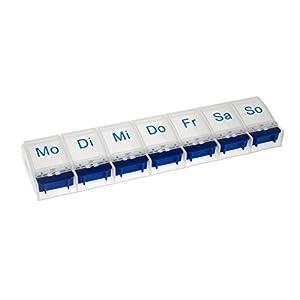 Vanlo Pillendose mit 7 Fächern für eine Woche in weiß/blau mit Öffner, Pillenbox, Tablettendose, Medikamentendose
