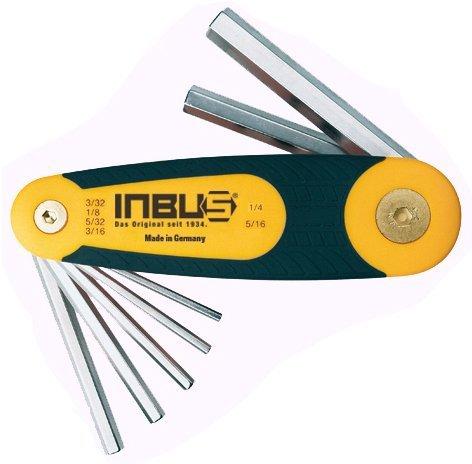 "INBUS® 70402 Inbusschlüssel Zoll Set im Klapphalter 6tlg. 3/32-5/16""   Made in Germany   Innensechskant-Schlüssel   Winkel-Schlüssel   3/32   1/8   5/32   3/16   1/4   5/16   Inch   Imperial"