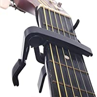 HEALLILY Capo de Guitarra de Metal Capo de Cambio Rápido Fácil de Usar para Guitarras Eléctricas Acústicas Clásicas Bajo (Negro)