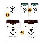 Scheda RFID & NFC Benefit Pack Blocker (1 scheda) + Copertura carta di credito, Carta EC (2 casi) + Copertura passaporto (2 casi) - Blocco RFID 100% contro la lettura non autorizzata dei dati