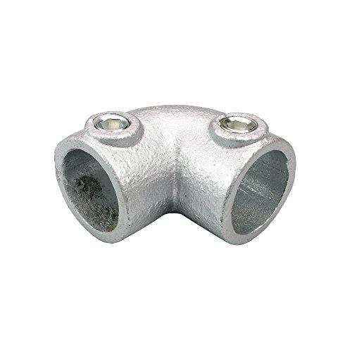 Liedeco Kurven-Verbindungsstück 90° für Gardinenstange, Rohr 28 mm Ø Industrielook   Metall   Silber - 1 Stück