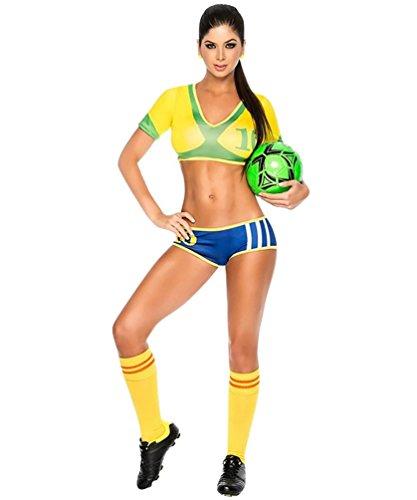 Baymate Damen Cheerleader Fussball Kostüme Karneval Fasching Uniform Kurz Ärmel - Karneval Kostüm Brasilien