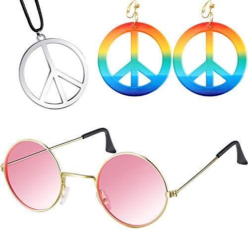 meekoo 60s 70s Hippie Ankleiden Zubehör Set, Einschließen Frieden Zeichen Ohrringe und Halsketten, Hippie Stil Brille für Thema Party oder Halloween (Farbe 2) -