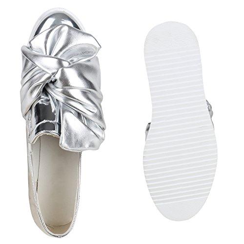 Funky Damen Slipper Lack Schuhe Profilsohle Plateau Loafers Lack Silber Schleife Lack